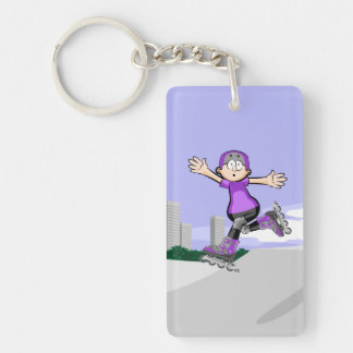 Young skate on wheels gives its ovation by its key ring