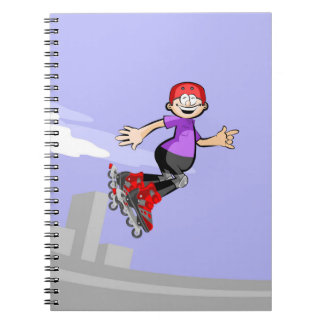 Young skate on wheels giving a jump gladly notebook