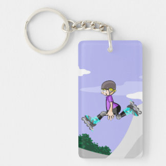 Young skate on wheels giving a jump with style key ring