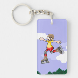 Young skate on wheels giving an extreme jump key ring