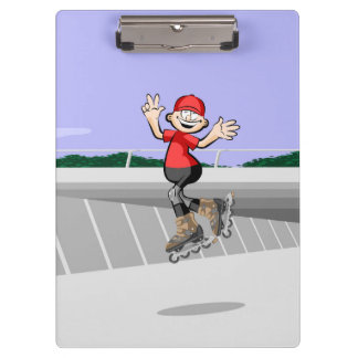 Young skate on wheels giving his third jump clipboard