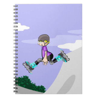 Young skate on wheels in the incline giving a jump notebook