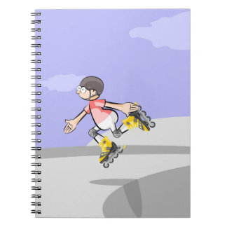 Young skate on wheels in the incline with skill notebook