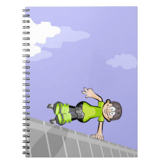 Young skate on wheels jumping a wall notebook