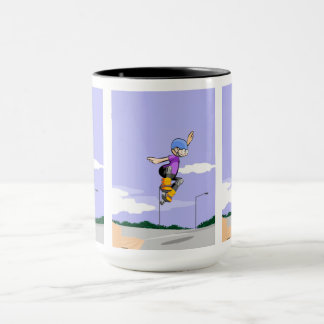 Young skate on wheels jumping by the air mug