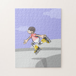 Young skate on wheels jumping in a foot jigsaw puzzle