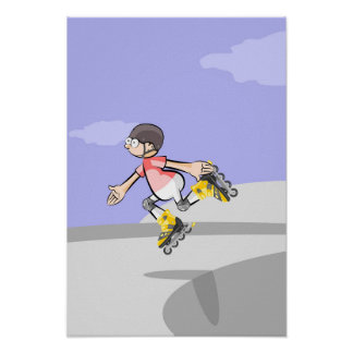 Young skate on wheels jumping in a foot poster