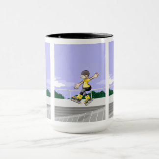 young skate on wheels jumping in the incline mug