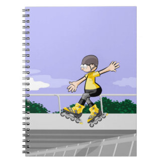 Young skate on wheels jumping with skill notebook