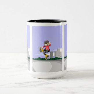 young skate on wheels jumps by the air mug
