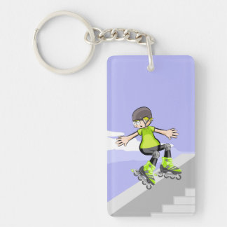 Young skate on wheels lowering a wall key ring