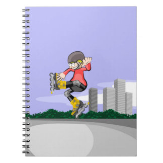 Young skate on wheels making a great pirouette notebook
