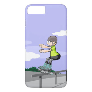 Young skate on wheels making balance iPhone 8 plus/7 plus case