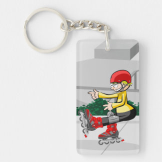 Young skate on wheels making its better pirouette key ring
