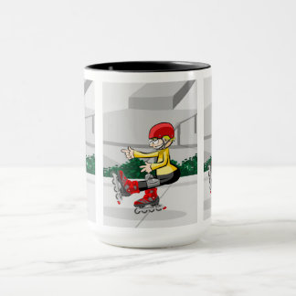 Young skate on wheels manages to make its mug