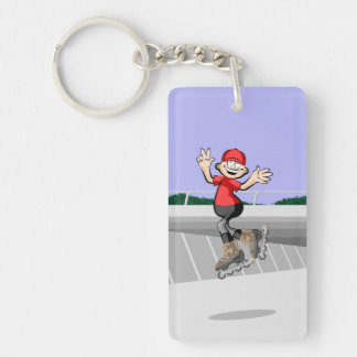 Young skate on wheels of red cap jumping key ring