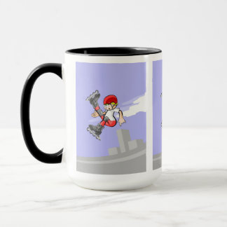 Young skate on wheels of red thief jumping mug