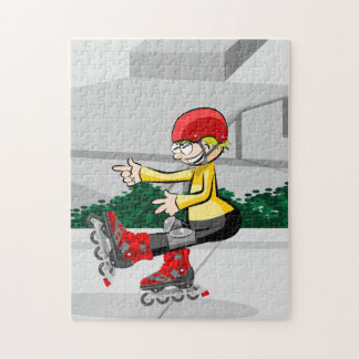 Young skate on wheels showing its skill jigsaw puzzle
