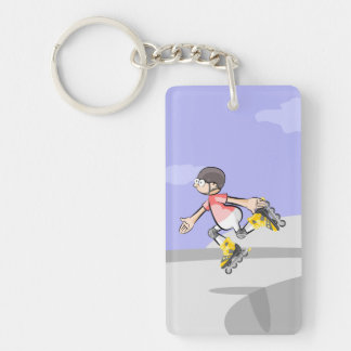 Young skate on wheels showing its skill key ring