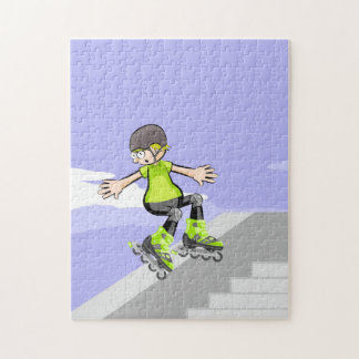 Young skate on wheels skidding a wall jigsaw puzzle