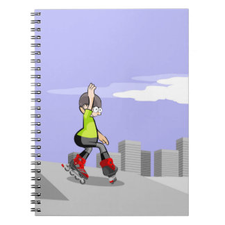 Young skate on wheels skidding in the incline notebook