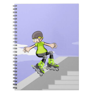 Young skate on wheels skidding on a wall notebook