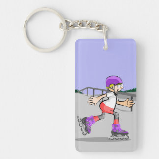 Young skate on wheels sliding by the park key ring