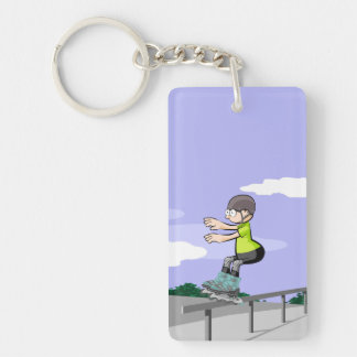 Young skate on wheels stopped in a railing key ring