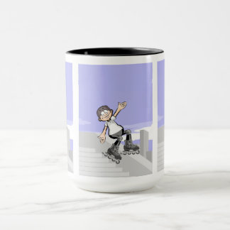 young skate on wheels stopped in a wall mug