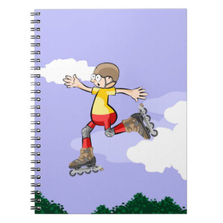 Young skate on wheels walking in the air notebook