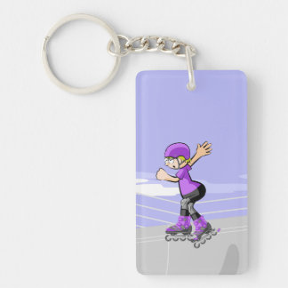 Young skate on wheels with winner attitude key ring