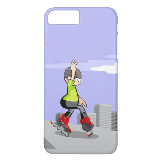 Young skate on wheels zigzagging in the incline iPhone 8 plus/7 plus case