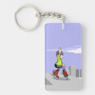 Young skate on wheels zigzagging in the incline key ring