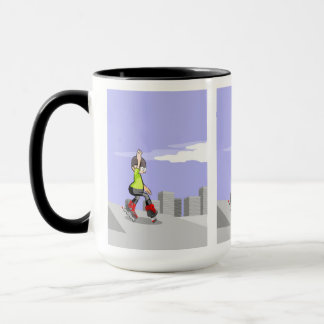 Young skate on wheels zigzagging in the incline mug