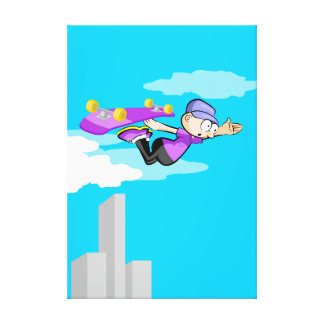 Young Skateboard flying by the air in his patienta Canvas Print