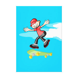 Young Skateboard is amused while it jumps Canvas Print