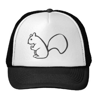 Young Squirrel in Black and White Sketch Mesh Hats