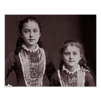 Young St. Therese of Lisieux and sister Celine. Poster