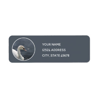 Young Swan & Feather Return Address Label