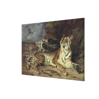 Young tiger playing with his mother, 1830 (oil on stretched canvas print