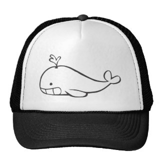 Young Whale Spouting Off in Black and White Sketch Trucker Hat