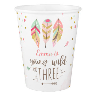 Young wild and three Paper cups birthday Pink Gold