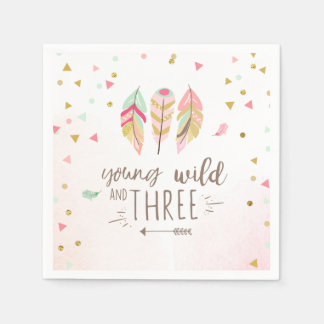 Young wild and three Paper Napkin Pink Gold Girl