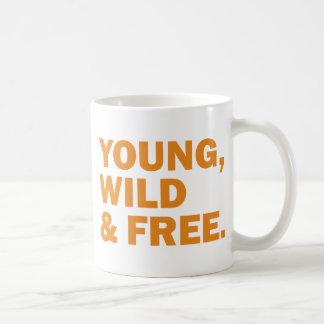 young, wild & free mugs