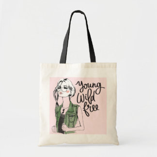 """Young Wild Free"" Pastel Pink Street Fashion Tote"