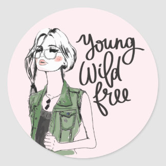 """Young Wild Free"" Teen Fashion Vogue Sticker"