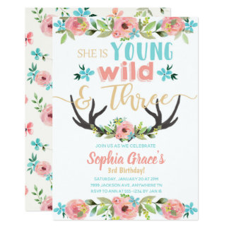 Young Wild & Three Birthday Invitation