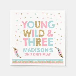 Young Wild & Three Birthday Party Napkin Pink Gold Disposable Napkin