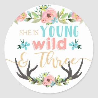Young Wild & Three Birthday Stickers