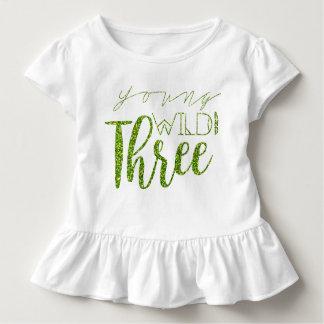 Young Wild & Three | Green Glitter | 3rd Birthday Toddler T-Shirt